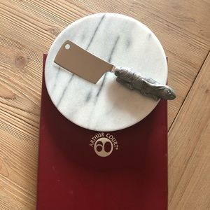 Arthur Court marble cheese round and rabbit knife